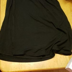 Black high waisted knee length fabric skirt